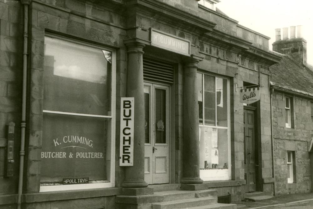 K Cumming, Butcher on Rosemarkie High Street, 1960s