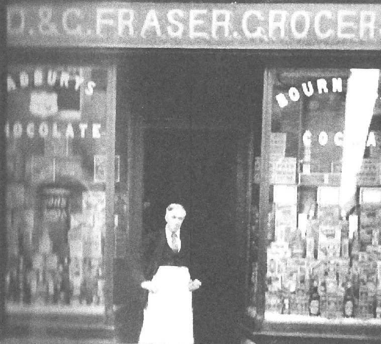 D&G Fraser Grocers, 1930s (Fortrose and Rosemarkie Local History Group)